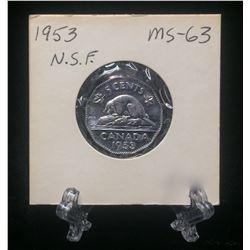 1953 Canada 5-Cents No Shoulder Fold Nickel (MS)