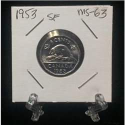 1953 Canada 5-Cents Shoulder Fold Nicke (MS)