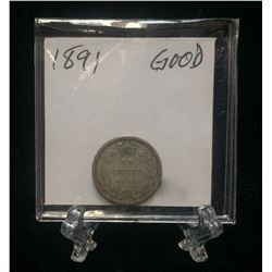 1891 Canada 10-Cents Silver Coin (G)
