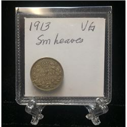 1913 Canada 10-Cents Small Leaves Silver Coin (VG)