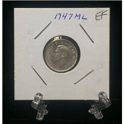 1947 Canada 10-Cents Maple Leaf Silver Coin (EF)