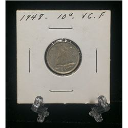 1948 Canada 10-Cents Silver Coin (VG/F)
