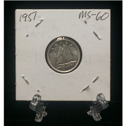 1951 Canada 10-Cents Silver Coin (MS)