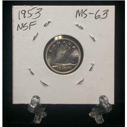 1953 Canada 10-Cetns No Shoulder Fold Silver Coin (MS)