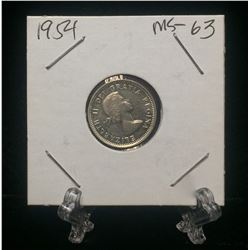 1954 Canada 10-Cents Silver Coin (MS)