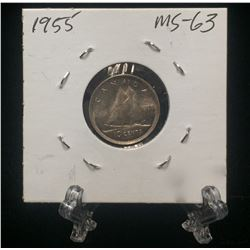 1955 Canada 10-Cents Silver Coin (MS)