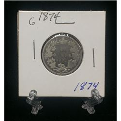 1874H Canda 25-Cents Silver Coin (G)
