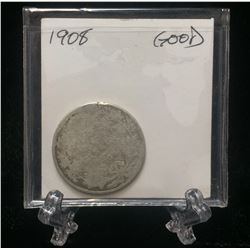 1908 Canada 25-Cents Silver Coin (G)