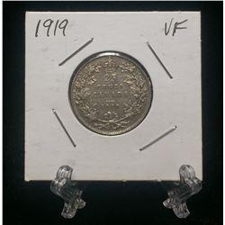 1919 Canada 25-Cents Silver Coin (VF)