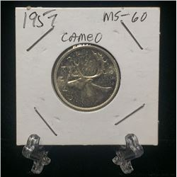 1957 Canada 25-Cents Cameo Silver Coin (MS)