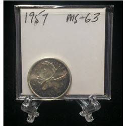 1957 Canada 25-Cents Silver Coin MS