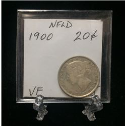 1900 Newfoundland 20-Cents Silver Coin (VF)