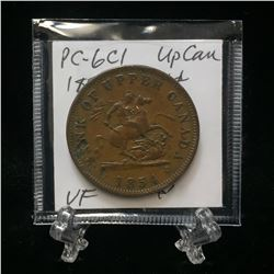 1854 Bank of Upper Canada One Penny Token (VF)