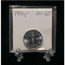 1945 Canada 5-Cents Victory 'V' Chromium Nickel (MS)