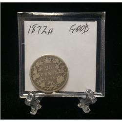 1872H Canada 25-Cents Silver Coin (G)