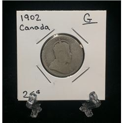 1902H Canada 25-Cents Silver Coin (G)