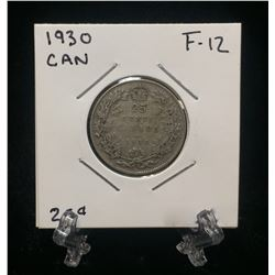 1930 Canada 25-Cents Silver Coin (F)
