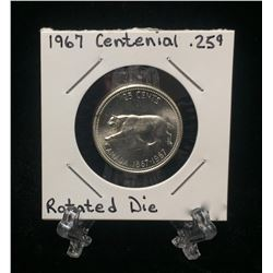 1967 Canada 25-Cents Centennial Silver Coin (15 Degree Rotated Die)