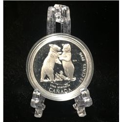 1996 Canada 50-Cents Black Bear Cubs: Little Wild Ones Proof Silver Coin