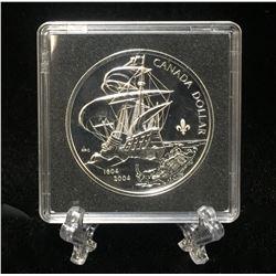 2004 Canada $1 French Settlement Commemorative Silver BU Dollar