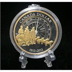2013 Canada $1 Arctic Expedition Gold-Gild Commemorative Proof Silver Dollar