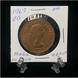 1967 UK Great Britain One Penny Die Smudge (Choice AU)