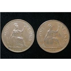 1964 & 1967 UK Great Britain One Penny (Red)
