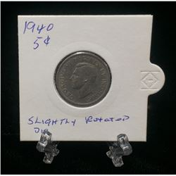 1940 Canada 5-Cents Nickel Slightly Rotated Die
