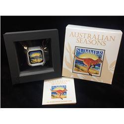 2013 1oz Australia $1 Kangaroo Summer: Seasons Coloured Square Coin