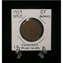 1929 Newfoundland 1-Cent Coin (EF)