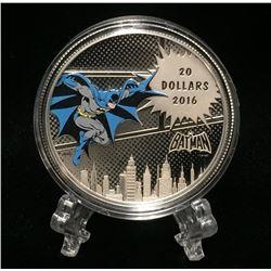 2016 Canada $20 Batman The Dark Knight: DC Comics Originals Coloured Proof Silver Coin