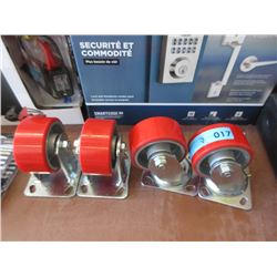 Set of 4 Castors - 2 Swivel & 2 in-line