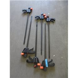 "6 New 24"" Quick Ratcheting Bar Clamps"
