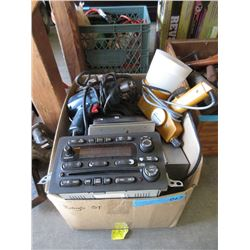 Box Lot of Old Electric Tools, Stereo and more