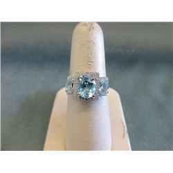 Sterling Silver Blue Topaz & Diamond Dinner Ring