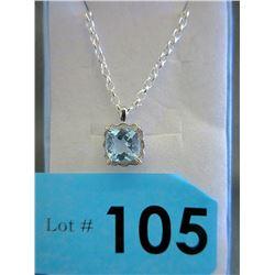 2.6 CT Blue Topaz & Diamond Pendant