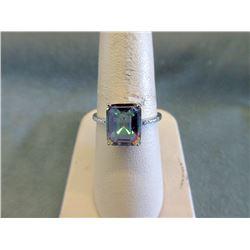Sterling Silver Mystic Topaz & Diamond Ring