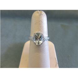 Beautiful Green Amethyst & Diamond Solitaire Ring