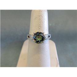 Ocean Blue Mystic Topaz & Diamond Solitaire Ring