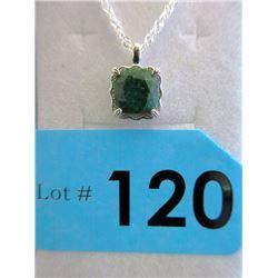 Large Emerald & Diamond Sterling Silver Pendant