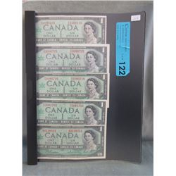 5 Old Canadian Centennial Serial Numbered $1 Bills