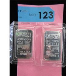 Two 1 Oz .999 Fine Silver Johnson Matthey Bars