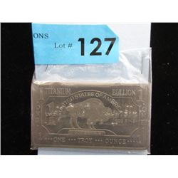 1 Oz. .999 Fine Titanium Buffalo Bar