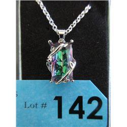 70 CTW Emerald Cut Mystic Topaz Necklace