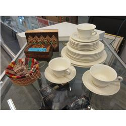 1930s Wedgwood Dishes & 3 Boxes
