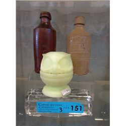 Vaseline/Uranium Glass Owl Tea Light Holder & More