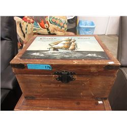 Vintage Wood Crate with Hand Painted Top