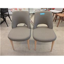 Pair of New Wood Leg Upholstered Dining Chairs