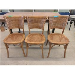 3 Wood & Bamboo Chairs - Brown
