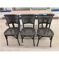 3 Wood & Bamboo Chairs - Black